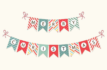 Festive bunting flags with letters Merry Christmas in traditional colors