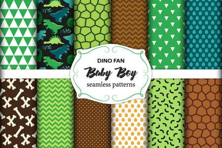 ファブリック、壁紙、異なる面の理想的な恐竜と幼稚なシームレス パターンのかわいいセット  イラスト・ベクター素材