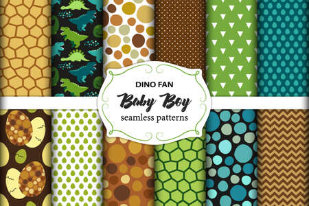 Cute set of childish seamless patterns with dinosaurs ideal for fabrics, wallpaper and different surfaces Vektoros illusztráció