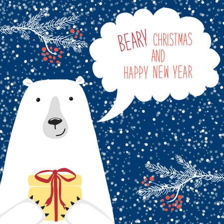 Nette Retro- Weihnachtskarte mit lustiger Zeichentrickfilm-Figur des Eisbären mit Spracheblase Standard-Bild - 84961695