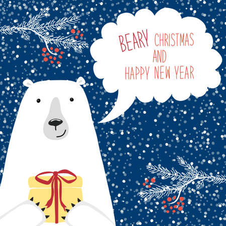 Cute retro Christmas card with funny cartoon character of polar bear with speech bubble
