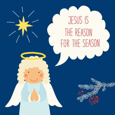 Cute hand drawn Christmas angel character with speech bubble and hand written text