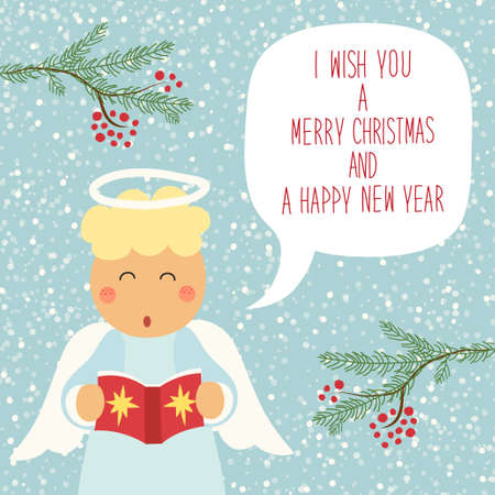 Cute hand drawn Christmas angel character with speech bubble and hand written text for your decoration Illustration