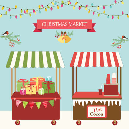 Cute retro card of Christmas market for your decoration