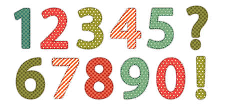 symbol. punctuation: Cute vintage shabby chic style numbers Illustration
