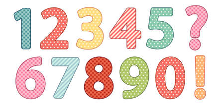 Cute vintage shabby chic style numbers Illustration