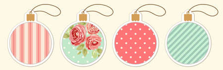 Set of cute vintage Christmas ball price tags in shabby chic style for your decoration