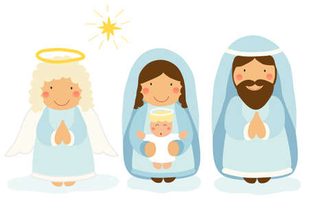 Cute hand drawn characters of Nativity scene Çizim