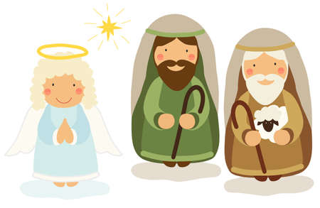 Cute hand drawn characters of Nativity scene can be used as Christmas school play banner Иллюстрация
