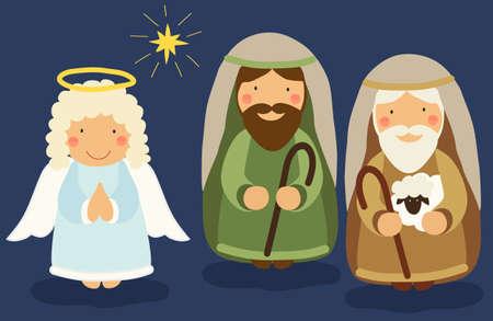 Lindo personajes dibujados a mano de la escena de la Natividad se puede utilizar como bandera de juego de la escuela de Navidad Ilustración de vector