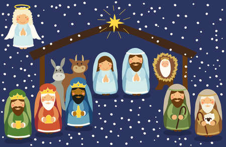 silent: Cute hand drawn characters of Nativity scene can be used as Christmas school play banner Illustration