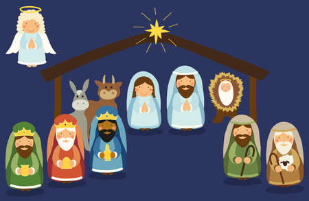 Cute hand drawn characters of Nativity scene can be used as Christmas school play banner 일러스트