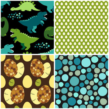 Cute set of childish seamless patterns with dinosaurs ideal for fabrics, wallpaper and different surfaces Stock Vector - 85648313
