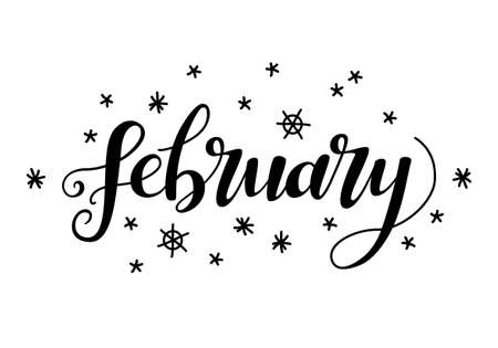 calendar design: Cute brush calligraphy of month of the year Illustration