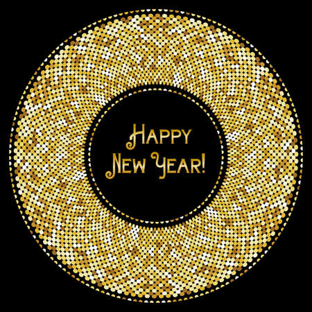 new years: Festive luxury banner Happy New Year with glamour golden glitter confetti.
