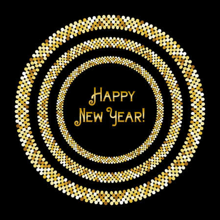 Festive luxury banner Happy New Year with glamour golden glitter confetti.