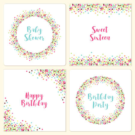Set of four cute confetti frames for your decoration