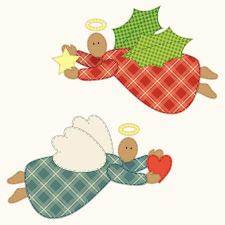 Schattig vintage patchwork kerst engel