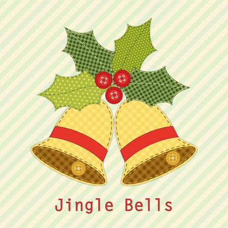 あなたの装飾のためにぼろぼろのシックなスタイルでレトロの生地アップリケとしてホリー ベリーかわいいクリスマスの鐘  イラスト・ベクター素材