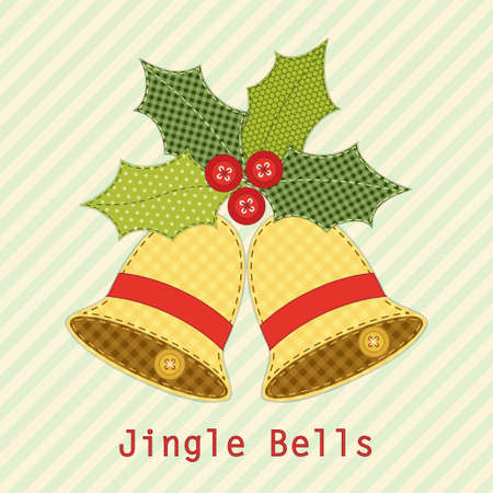 Cute Christmas bells with holly berry as retro fabric applique in shabby chic style for your decoration Illustration
