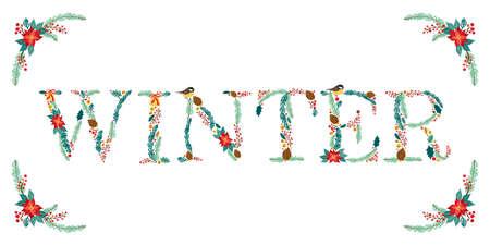 Bonne cérémonie de Noël floral rustique à la main Banque d'images - 86692198