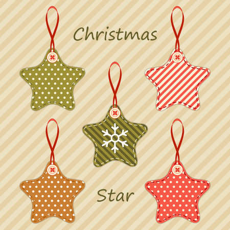Cute fabric retro stars as Christmas decorations in shabby chic style for your dercoration