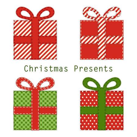 Cute retro Christmas present boxes as fabric applique