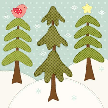 レトロパッチアップリケとして森林モミの木とキュートな冬のカード