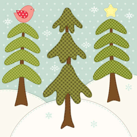 Cute winter card with forest fir trees as retro patch applique