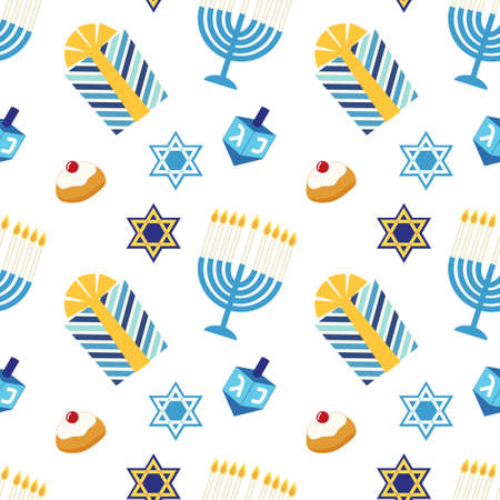 jewish star: Cute festive seamless pattern Happy Hanukkah in traditional colors