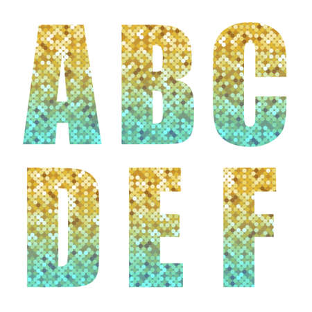 Beautiful trendy glitter alphabet letters with silver to gold ombre Illustration