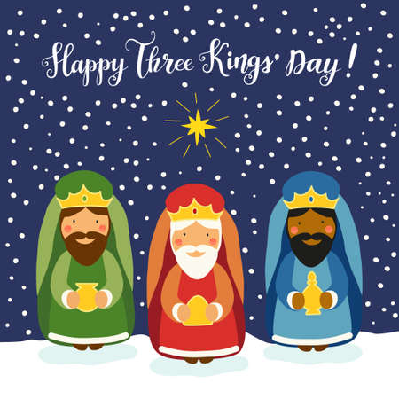 Cute Three Kings Day card with hand drawn characters