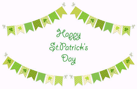Cute festive bunting flags with clover isolated on white background.