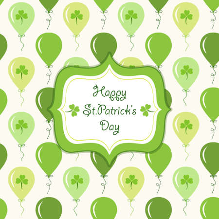 Cute festive background with ballons and clover isolated on white background. Happy Saint Patricks Day card. Illustration