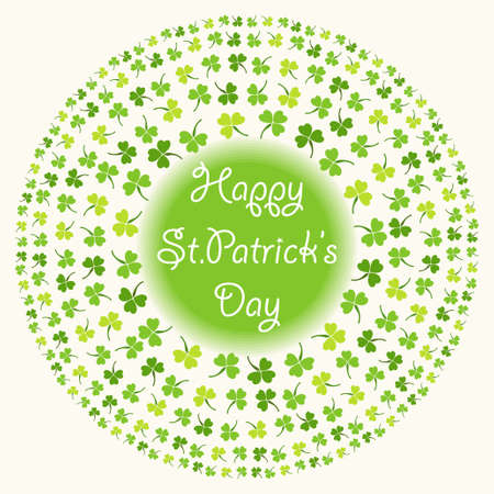 Cute festive frame with clover isolated on white background. Happy Saint Patricks Day card. Illustration