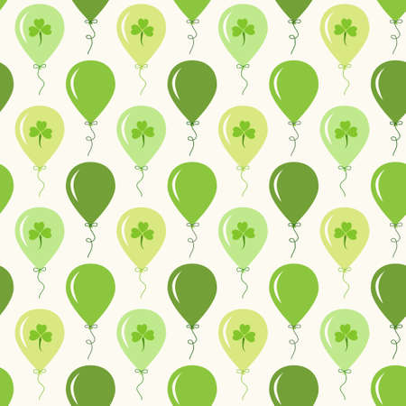 Cute festive seamless background with balloons and clover isolated on white background. Illustration