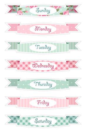 Dagen van de week banners als retro feestelijke linten in sjofele chique stijl ideaal voor retro dagboek, kalender of schema decoratie.