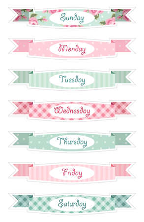 Days of week banners as retro festive ribbons in shabby chic style ideal for retro diary, calendar or schedule decoration.