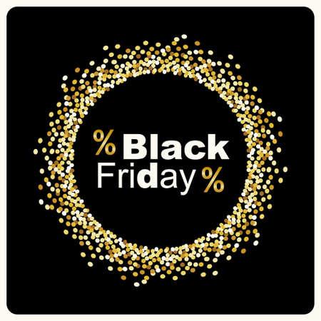 Fondo de lujo Black Friday con marco de confeti de oro brillo para su decoración Foto de archivo - 88329597