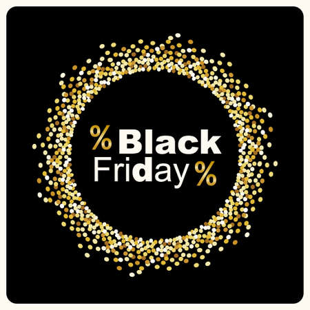 Luxury Black Friday background with gold glitter confetti frame for your decoration