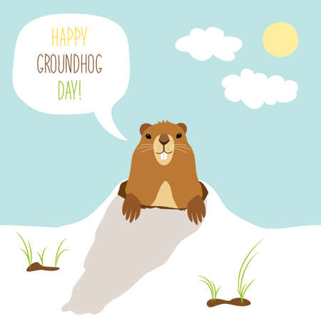 Cute Groundhog Day card as funny cartoon character of marmot with speech bubble and hand written text Çizim