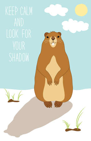 Cute Groundhog Day card as funny cartoon character of marmot with hand written text Illustration