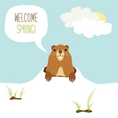 Tarjeta linda de Groundhog Day como personaje de dibujos animados divertidos de marmota con burbuja de discurso y texto escrito a mano Foto de archivo - 88419818