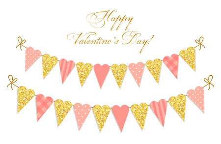Cute vintage heart shaped glitter and shabby chic style bunting flags ideal for Valentines Day etc