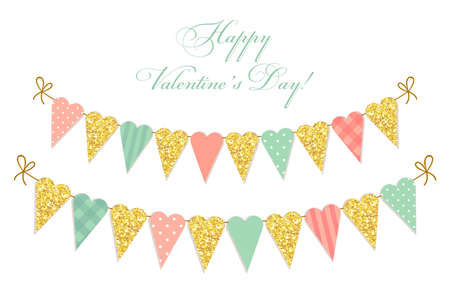 Cute vintage heart shaped glitter and shabby chic style bunting flags ideal for Valentines Day, wedding, birthday, bridal shower, baby shower, retro party decoration etc