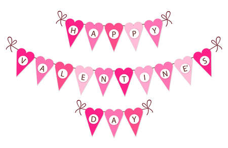 Cute vintage bunting flags for Valentines Day, wedding, birthday and bridal shower party decoration. Illustration