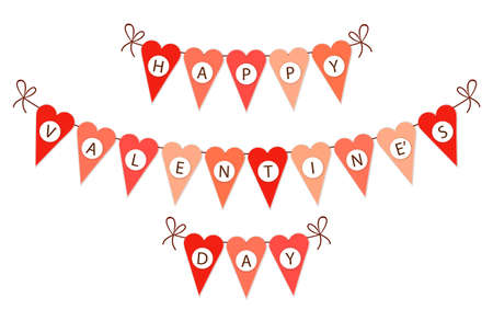 Cute vintage heart shaped bunting flags ideal for Valentines Day etc
