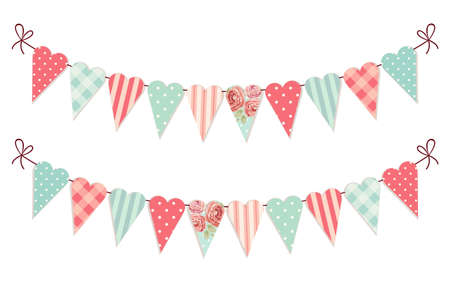 Cute vintage heart shaped shabby chic textile bunting flags ideal for Valentines Day, wedding, birthday, bridal shower, baby shower, retro party decoration etc