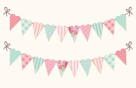 Cute vintage heart shaped shabby chic textile bunting flags Ilustração