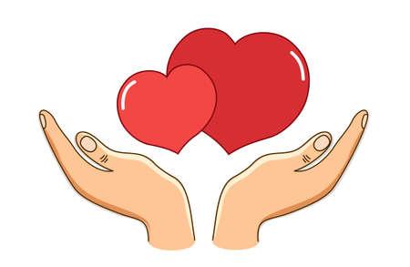 El concepto de amor como manos guarda dos corazones en blanco Foto de archivo - 88881861